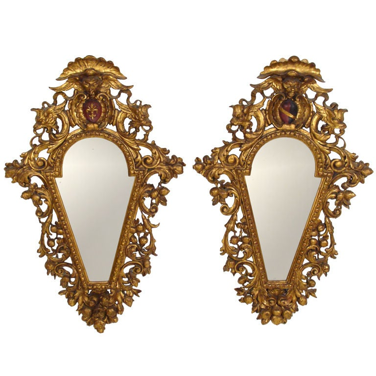 Pair of Italian Baroque Style Giltwood Mirrors