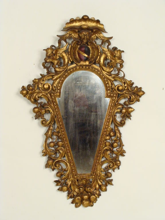 Pair of Italian Baroque Style Giltwood Mirrors In Good Condition For Sale In Laguna Beach, CA
