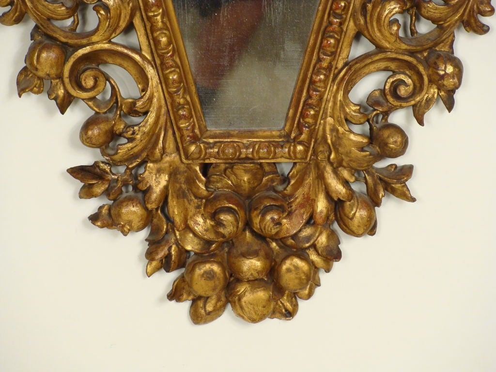 Pair of Italian Baroque Style Giltwood Mirrors For Sale 1