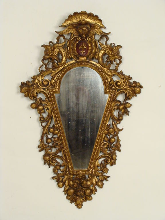 Pair of Italian Baroque Style Giltwood Mirrors For Sale 2