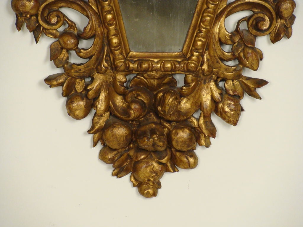 Pair of Italian Baroque Style Giltwood Mirrors For Sale 4