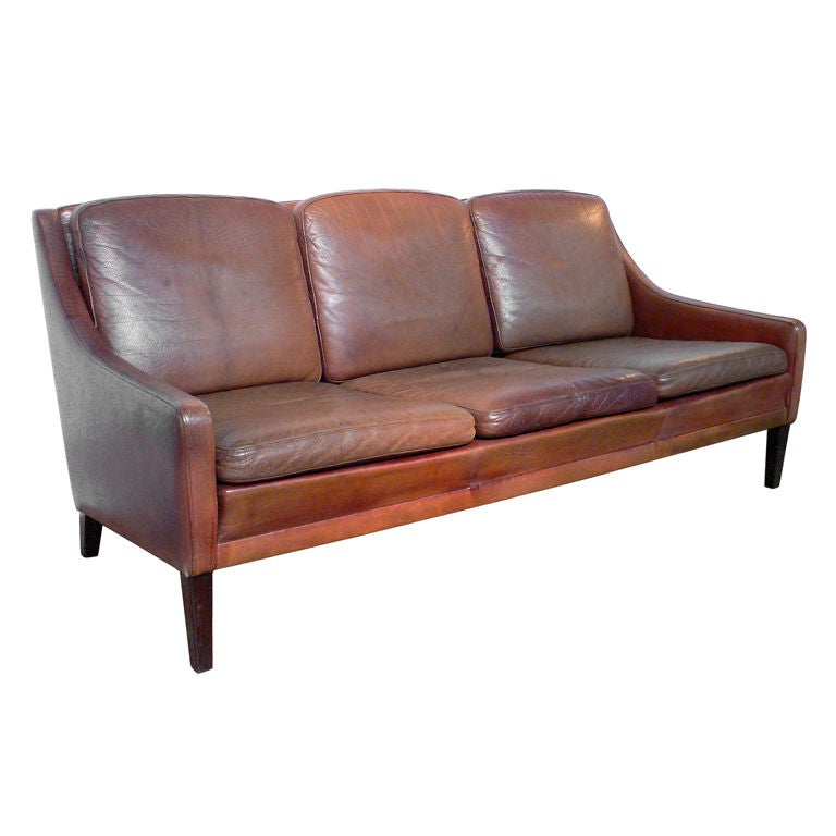 Vintage Leather Sofa by Fritz Hansen at 1stdibs