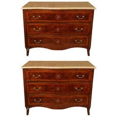 Pair of Inlaid Commodes from Genoa, Italy