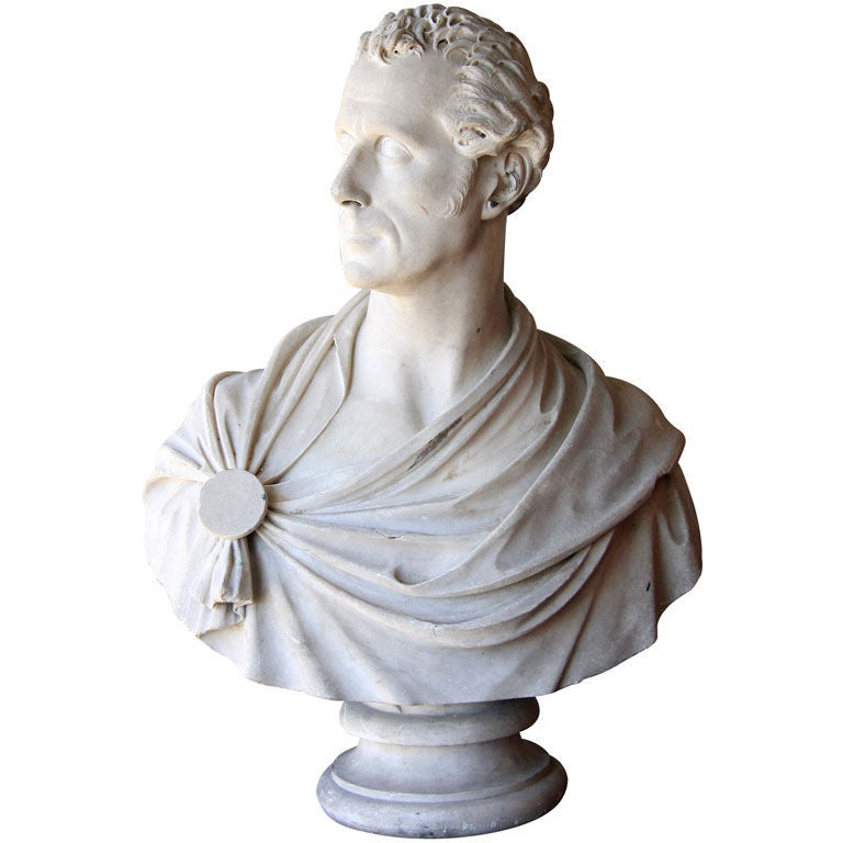Signed and Dated, Marble Bust of Man