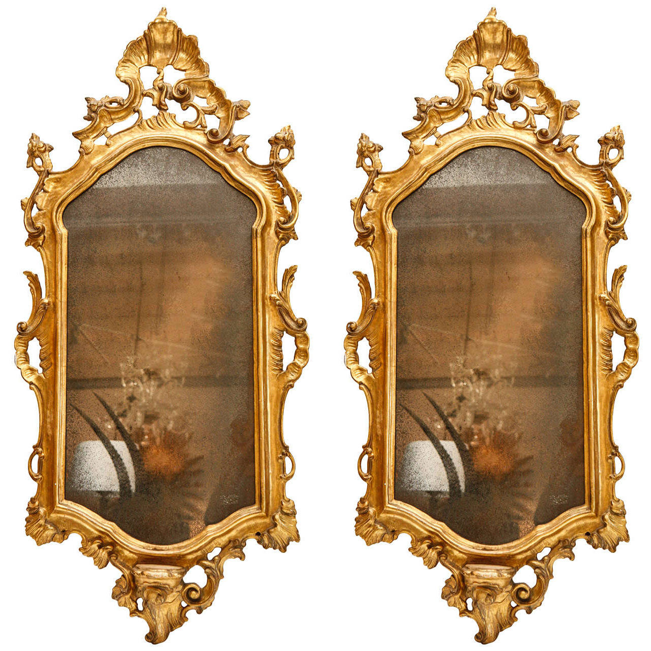 Pair of Italian, 19th c., Giltwood Mirrors