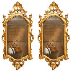 Pair of Italian, 19th c., Giltwood Mirrors