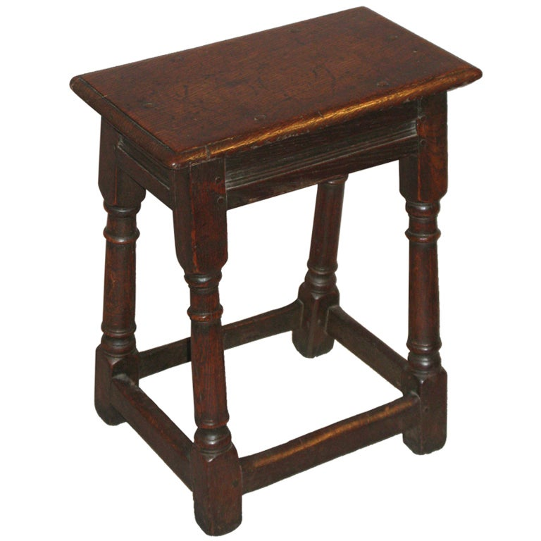 An Oak Joint Stool With Turned Legs At 1stdibs