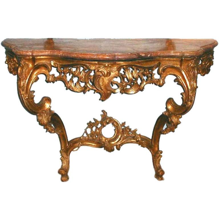 A gilded wood console table tavolo da muro with a marble for Console tavolo