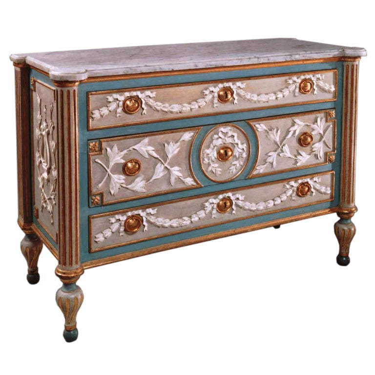 Painted And Parcel Gilded Wood Commode With Gilded Bronze Mounts