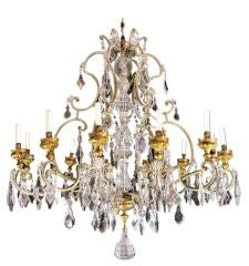 Unusually Brilliant 12 Light Gilt  Metal And Crystal Chandelier