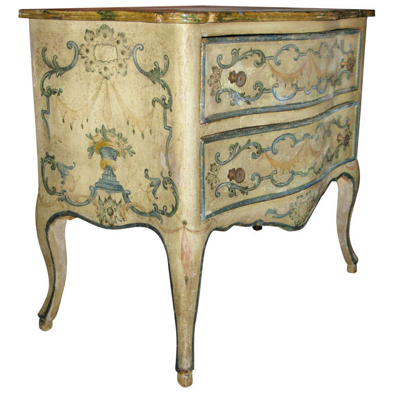 italian rococo cream painted floral decorated commode at 1stdibs