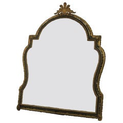 An oak, rosewood, brass table mirror inlaid with tortoiseshell