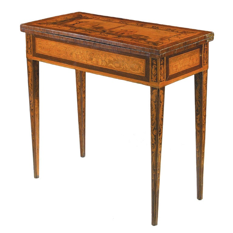 An Inlaid And Veneered Wood Neoclassic Card Table At 1stdibs