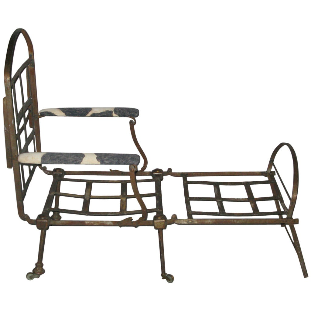 directoire folding metal chaise longue at 1stdibs. Black Bedroom Furniture Sets. Home Design Ideas