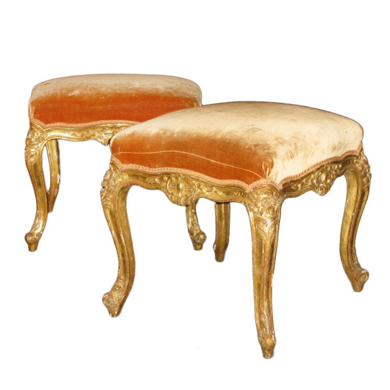 A pair of carved and gilded beech wood stools at 1stdibs : XXX854313279511431 from 1stdibs.com size 768 x 768 jpeg 49kB