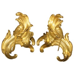 A Louis XV pair of very finely gilded and chased bronze chenets