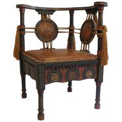 Carlo Bugatti Walnut and Inlaid Corner Chair in Exotic Moroccan Design
