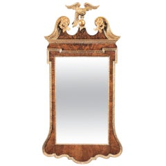 George II Walnut and Parcel-Gilt Mirror