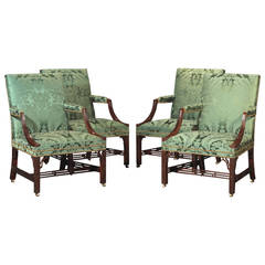 Rare Set of Four George III Mahogany Chinese Chippendale Library Armchairs