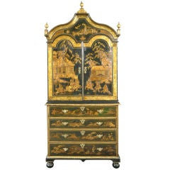A Rare Queen Anne Japanned Secretaire Cabinet