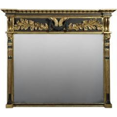 Regency Gilt and Ebonized Overmantel Mirror of Breakfront Form