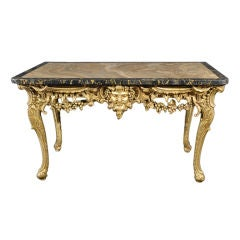 "George II Giltwood Marble-Top ""Bacchus"" Console Table"