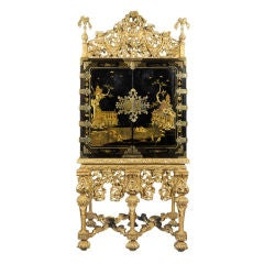 A Rare Charles II Black & Gilt Japanned Cabinet With Original Gilding