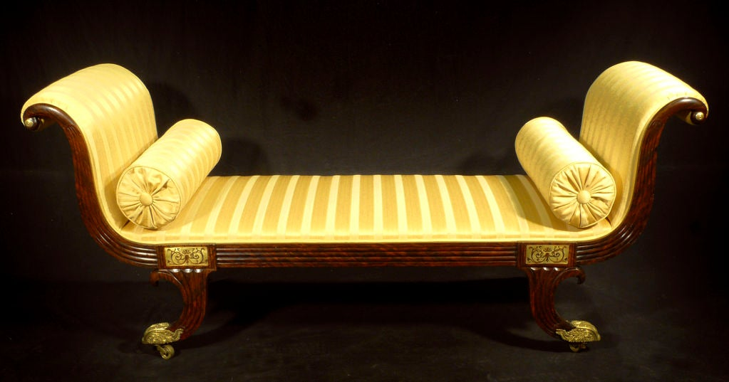 A regency brass inlaid simulated rosewood chaise longue for Chaise longue for sale ireland
