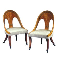 A Superb Pair Of Regency Satinwood Spoon-back Chairs