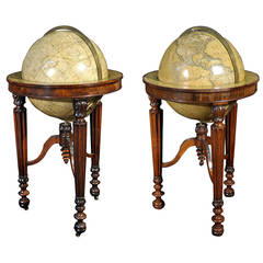 Pair of 19th Century Globes by Newton on Rosewood Library Stands
