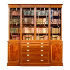 Very Fine George III Mahogany Breakfront Bookcase
