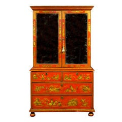 A Queen Anne Red Japanned Two Door Mirrored Cabinet On Chest