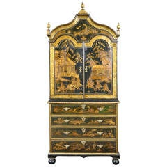 Rare Queen Anne Japanned Secretaire Cabinet