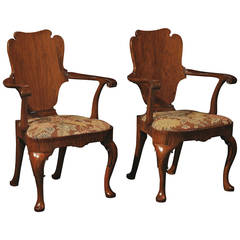 Pair of George I Walnut Armchairs