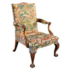 A George II Mahogany and Needlework Upholstered Library Armchair