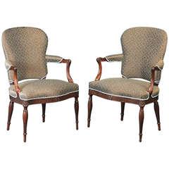 Pair of George III Mahogany Open Armchairs