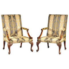 Superb Pair of George III Mahogany Carved Library Armchairs