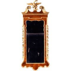 George II Walnut and Parcel Gilt Mirror of Elegant Proportions