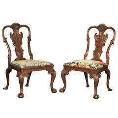 Fine Pair of George I Walnut Side Chairs