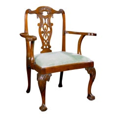 An Irish George II Mahogany Open Armchair