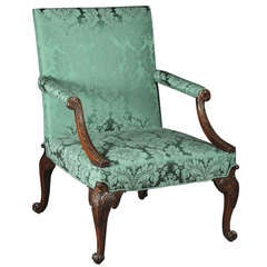 A George II Walnut Library Armchair