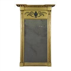 Regency Giltwood and Black-Painted Mirror