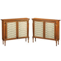 A Pair of Regency Style Satinwood Side Cabinets