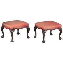 Fine Pair of George II Mahogany Stools