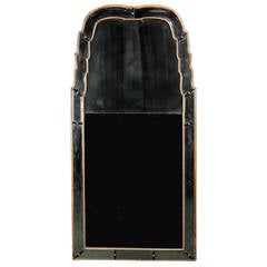 Queen Anne Border Glass Pier Mirror of Arched, Stepped Form