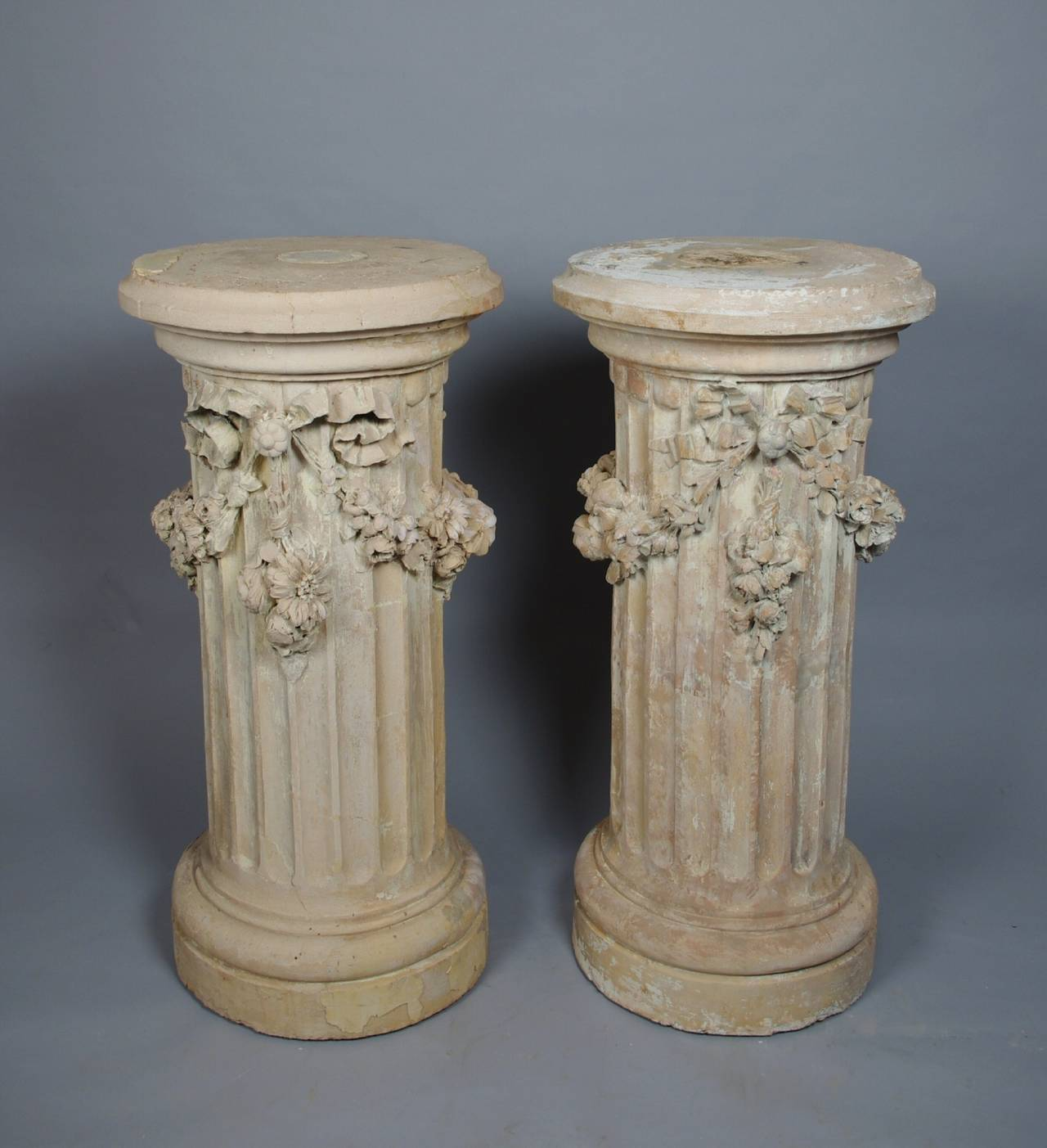Pair of terracotta fluted pedestals at 1stdibs for Fluted pedestal base