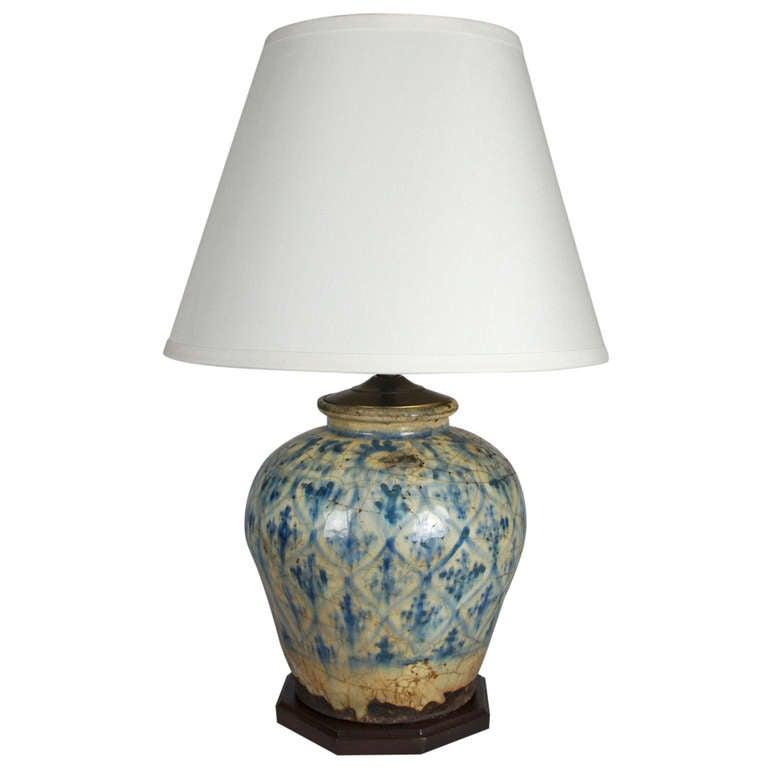 Glazed Ceramic Ginger Jar Mounted As A Lamp At 1stdibs