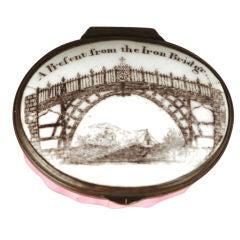 "Enamel Patch Box ""A Present from the Iron Bridge"""