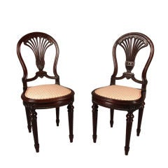 Fine Pair of Louis XVI Mahogany Side Chairs