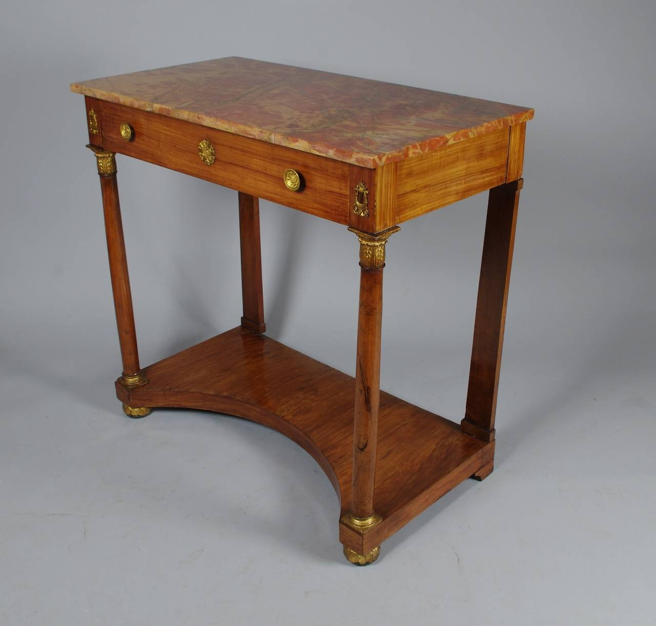 Superbe Italian Empire Cherrywood Console Table In Excellent Condition For Sale In  St. Louis, MO